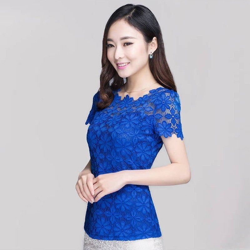 Plus Size 2016 New Summer Fashion Elegant Women Lace Blusas Short Sleeve Slim Sexy Blouses Shirt Floral Oversized Tops Tee
