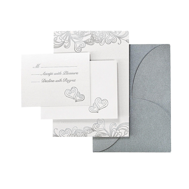 Silver & White Iridescent Wedding Invitation Set - OrientalTrading ...