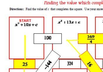 FREEBIE - Maze - Quadratic Functions - Complete the Square Missing