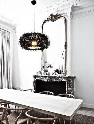 BLACK RATTAN PENDANT LIGHT 40cm Wooden European Home Living Style Hanging Cane
