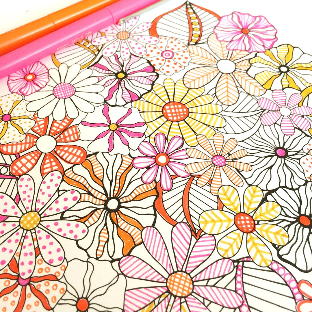 Grown up colouring book bored panda - Flower Designs Coloring Book By Jenean Morrison Doodle Flowersadult