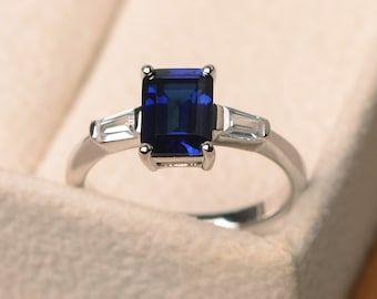 Blue Sapphire Ring Promise Ring September Birthstone Ring   Etsy