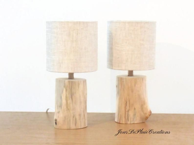 Set Of 2 Lamps Shade Linen O 15 Cm Driftwood Lamps Bedside