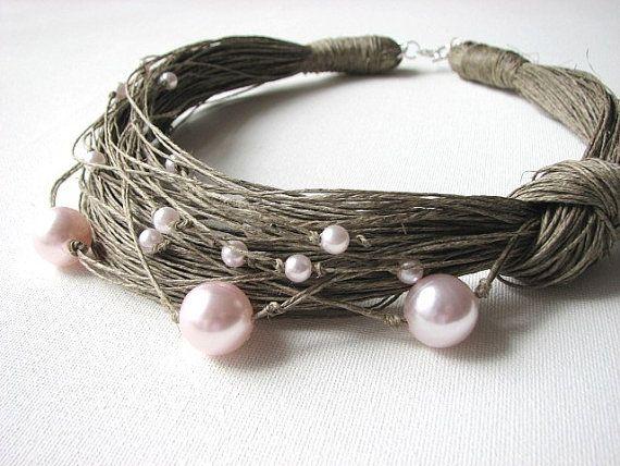 Perle rosa - collana di lino