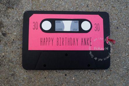 Ziehkarte, 90er Jahre Party, Geburtstag, Kassette, Gorgeous Grunge, Stampin up, Itty Bitty, Stampin Up, www.fraauh.de