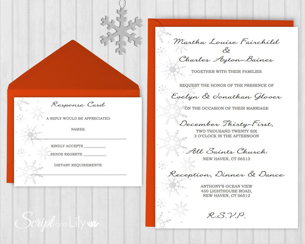 Snowflake Invitation & RSVP Template | *FREE Color Change | Edit ...