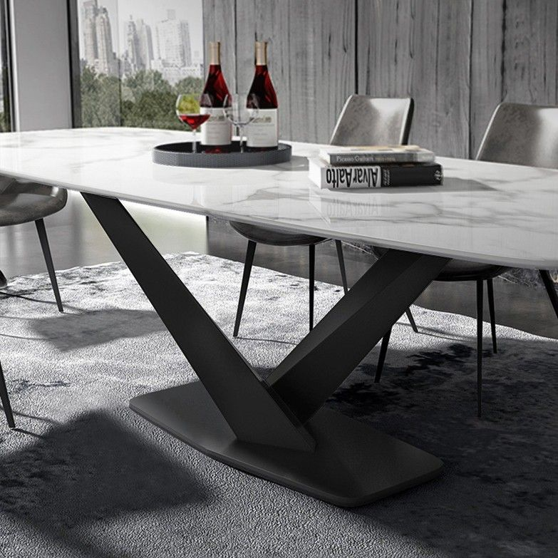 Modern Rectangular 63 In 2021 Dining Table Marble Marble Dining Faux Marble Dining Table