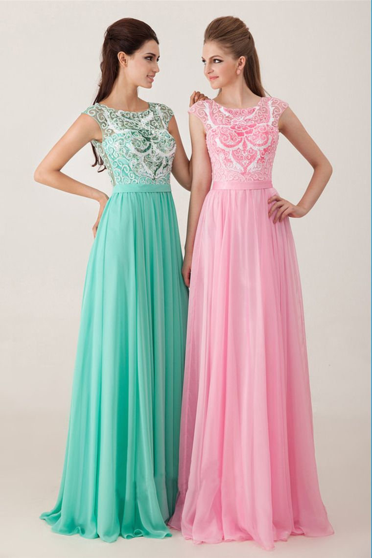 Beaded Bodice Open Back A Line Floor Length Chiffon Prom Dress ...