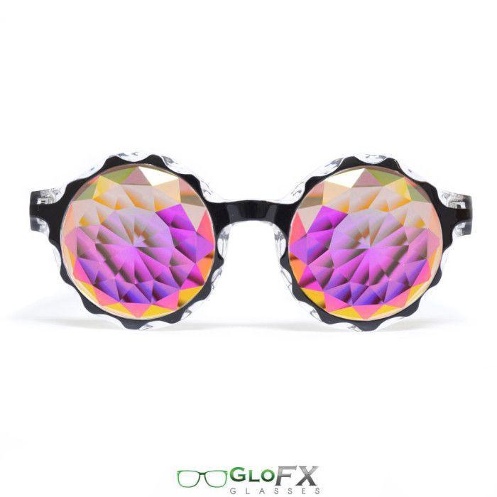 61095e154dba6 GloFX Black Crown Kaleidoscope Glasses – Rainbow Fractal – Flat Back ...