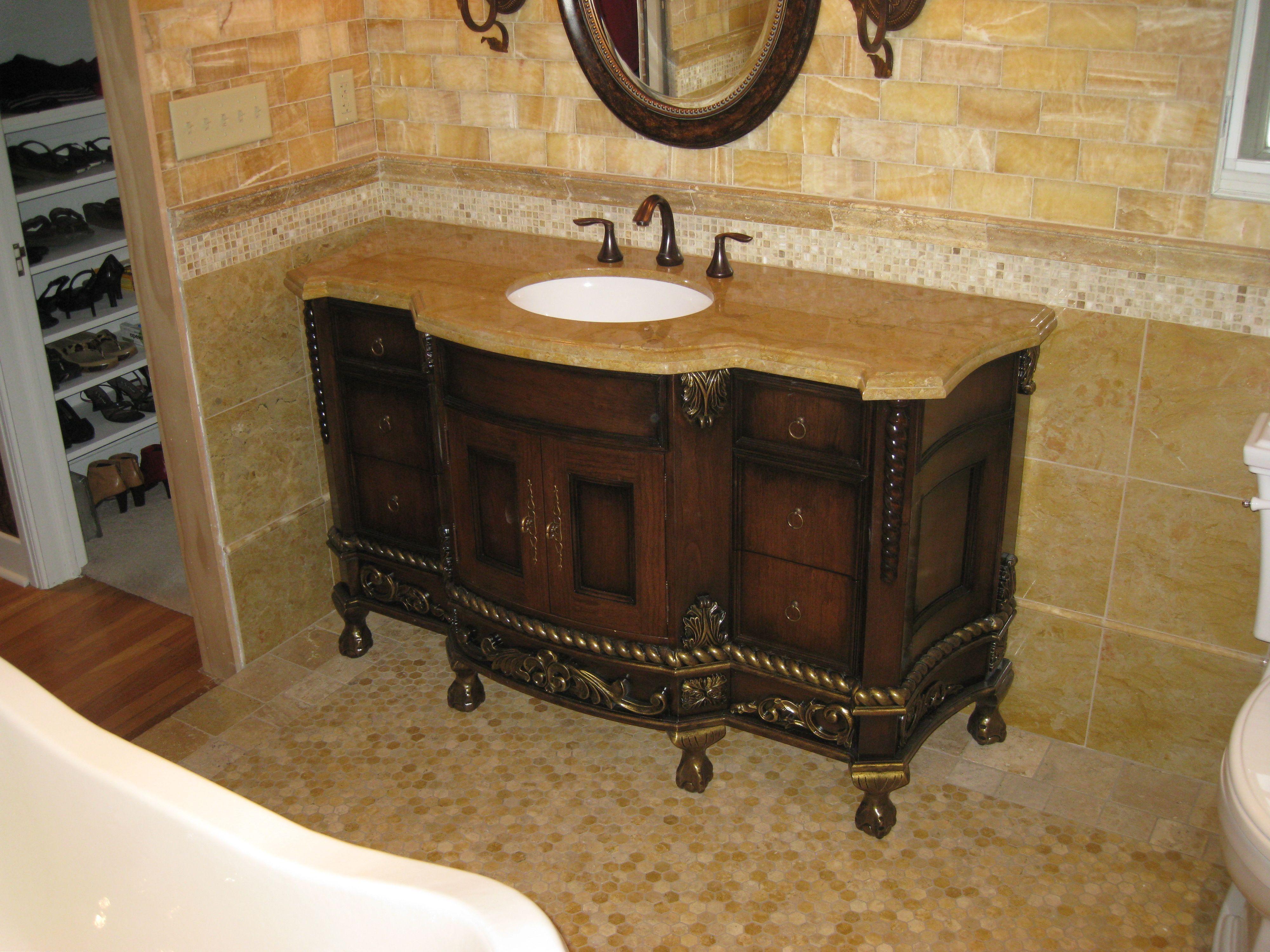 Unique Brown Wooden Bathroom Vanities with Tops with Single Sink