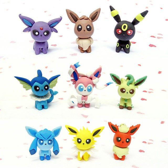 #eeveelution #eevee #umbreon #espeon #vaporeon #sylveon #leafeon #glacieon #jolteon #flareon #pokemon #fanart #handmade #figurine