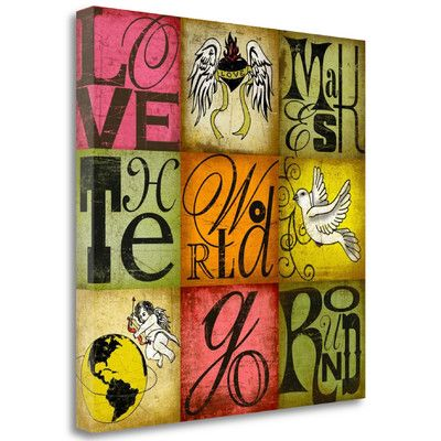 Tangletown Fine Art 'Love Makes the World Go Round' by SuZanna Anna Graphic Art on Wrapped Canvas