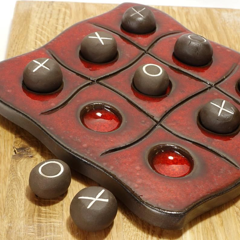 Tic tac toe ceramic game, Red pottery, noughts and crosses, Kids and adults game, Colorful ceramic board game, Tic tac toe game for family