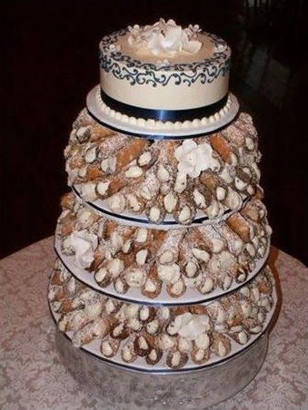 our cake cannoli tower cake on top note not our actual cake wedding stuff pinterest. Black Bedroom Furniture Sets. Home Design Ideas