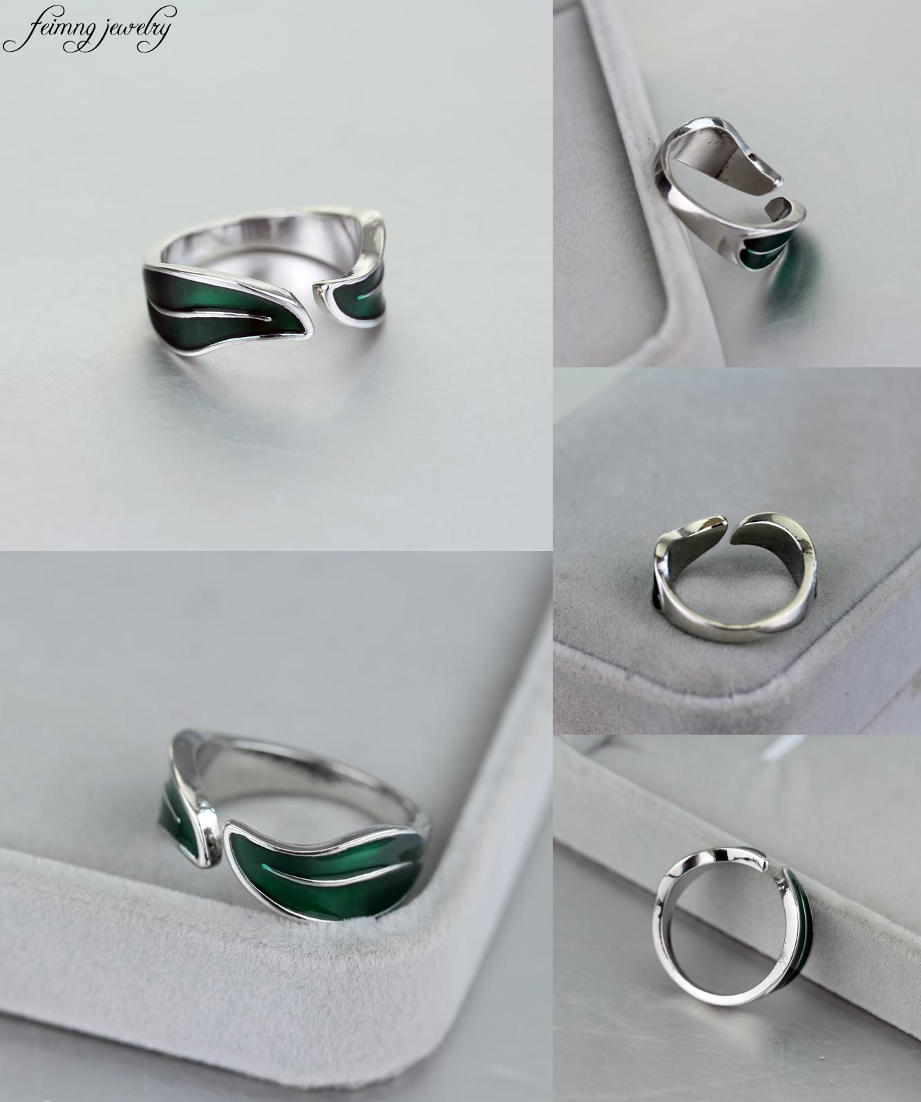 Visit to Buy feimeng jewelry Punk Adjustabe Leaf Ring ...