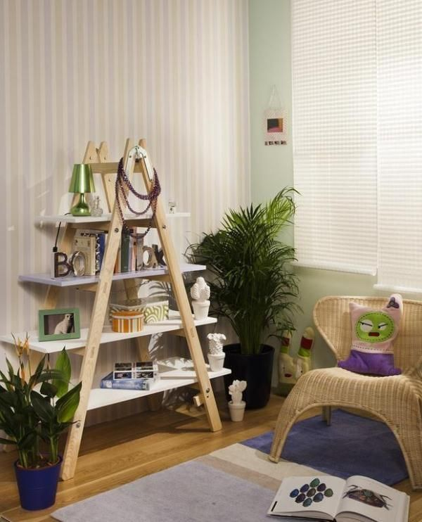 Creative Ways To Reuse An Old Ladder. Would use it as a book shelf