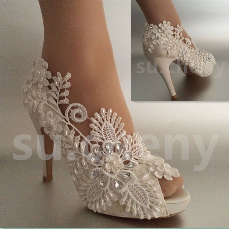 "3 4 Heel White Ivory Satin Lace Ribbon Open Toe Wedding: Details About Su.cheny 3"" 4"" Heel Satin White Ivory Lace"