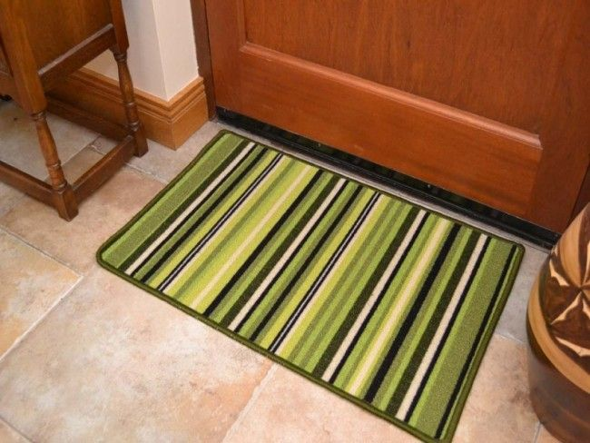 Riviera Green Black Stripes Non Slip Machine Washable Rug Washable Rugs Machine Washable Rugs Rugs