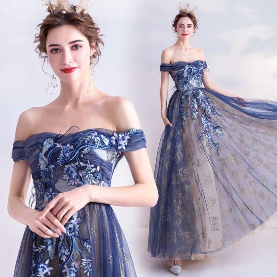 Photo of Elegante dunkelblaue Abendkleider 2020 A Line Shine Off Schulter Perlen Spitze Blumen Ärmellose rückenfreie lange Abendkleider