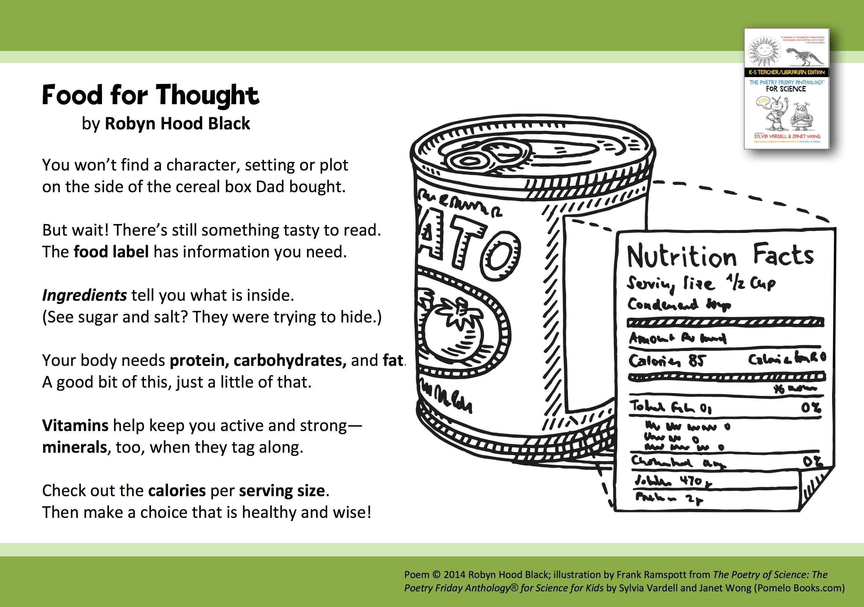 Thinking About Consumer Awareness And The Importance Of Reading Labels Share This Poem Food For Thought B Poems About Food Kids Poems Importance Of Reading