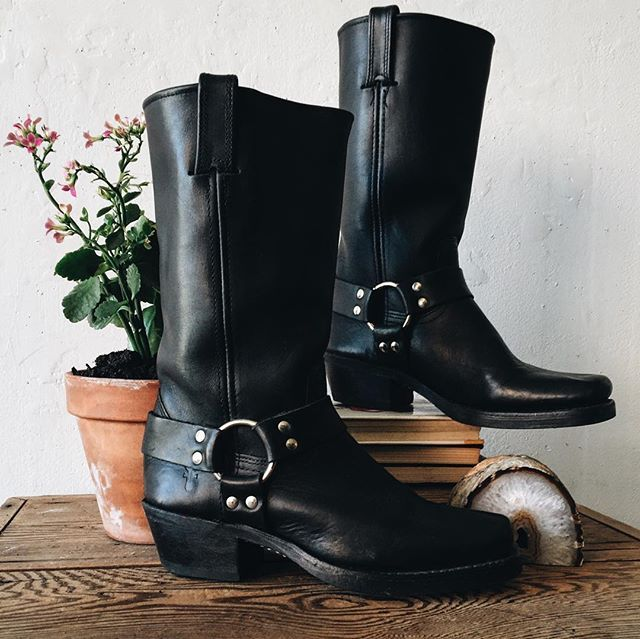 All good things come to those who shop our IG! // Frye black leather motorcycle boot with harness ...