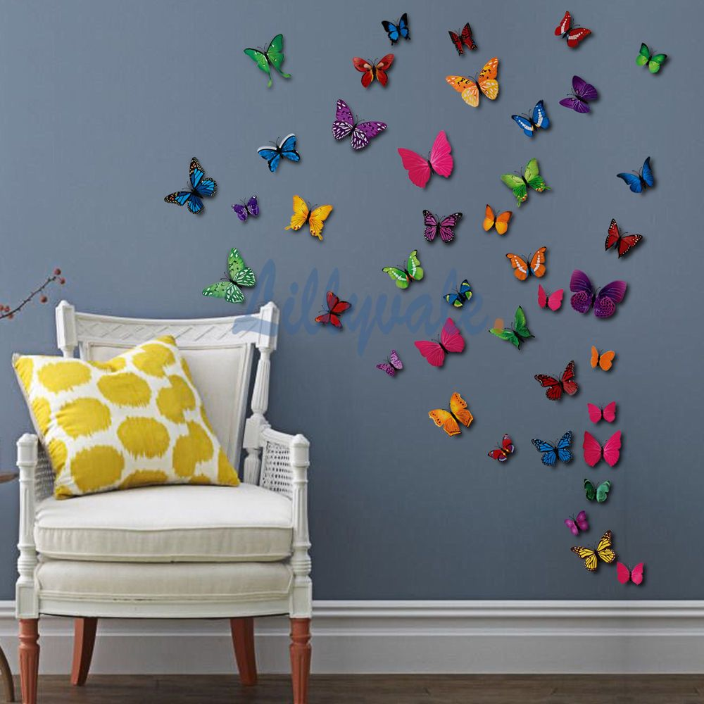 Best Details About 12 Pcs 3D Butterfly Wall Stickers Art Decal 400 x 300