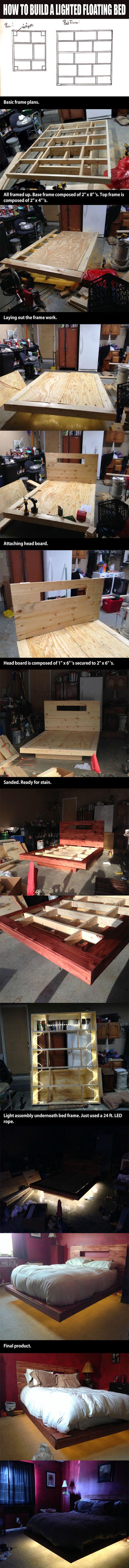 how to build a lighted floating bed 14 pics - Diy Kingsizekopfteil Plne