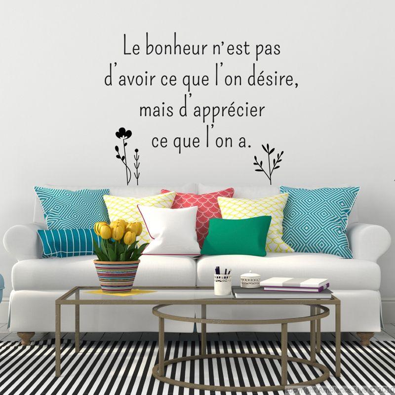Sticker citation le bonheur nest pas le désir