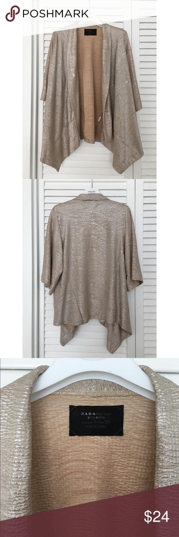 Zara Gold Shimmer Kimono | Zara tops, Zara cardigan and Holiday tops