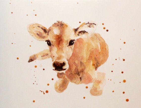 Watercolor Calf Etsy Nifty Things Cow Tattoo Cow Art Farm Tattoo