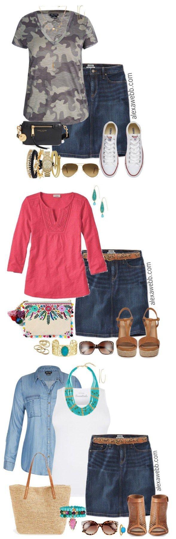400b6c649 Plus Size Denim Skirt Outfit - Plus Size Fashion for Women - Alexa Webb # alexawebb