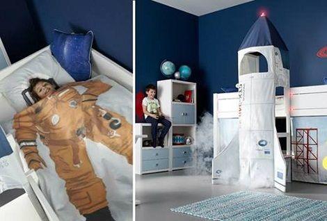 Behang Kinderkamer Ruimtevaart : Ifetime space bed ruimtevaart planeet raket ruimtepak