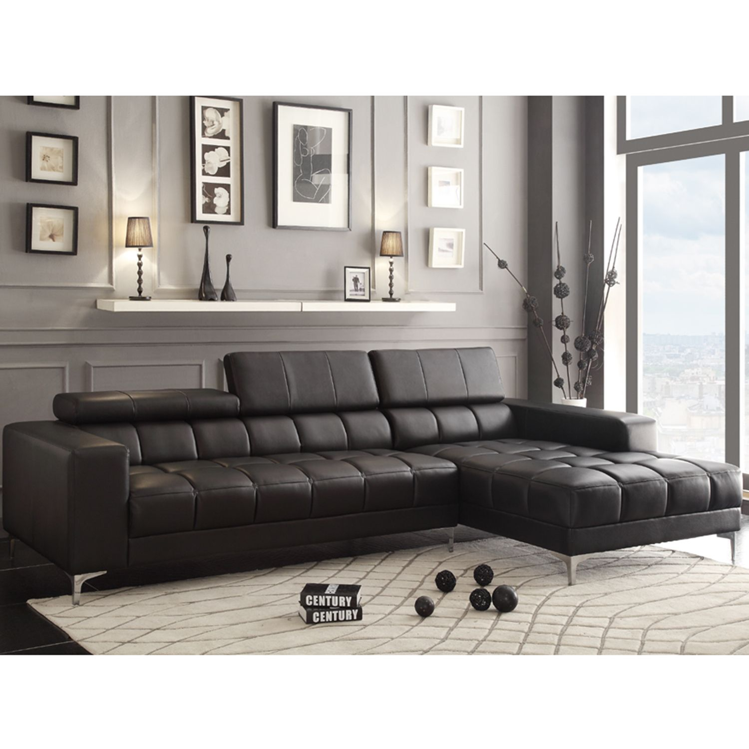 Leather Sofa Lark Black Bonded Leather Sectional With Adjustable Headrest And Chaise