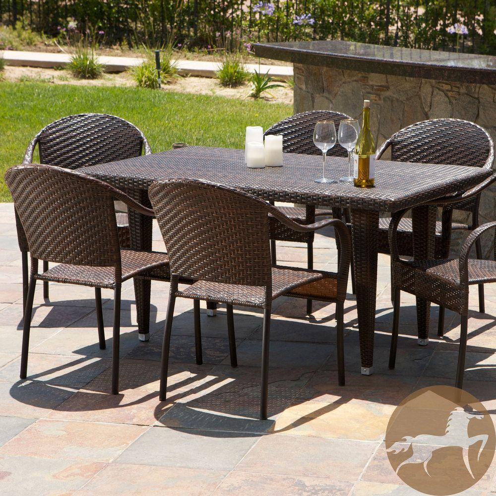 Christopher Knight Home Zumba Pe Wicker 7 Piece Outdoor Dining Set