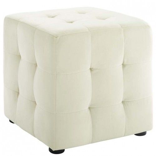 Astonishing Ivory Velvet Tufted Cube Footstool Ottoman Velvet Machost Co Dining Chair Design Ideas Machostcouk