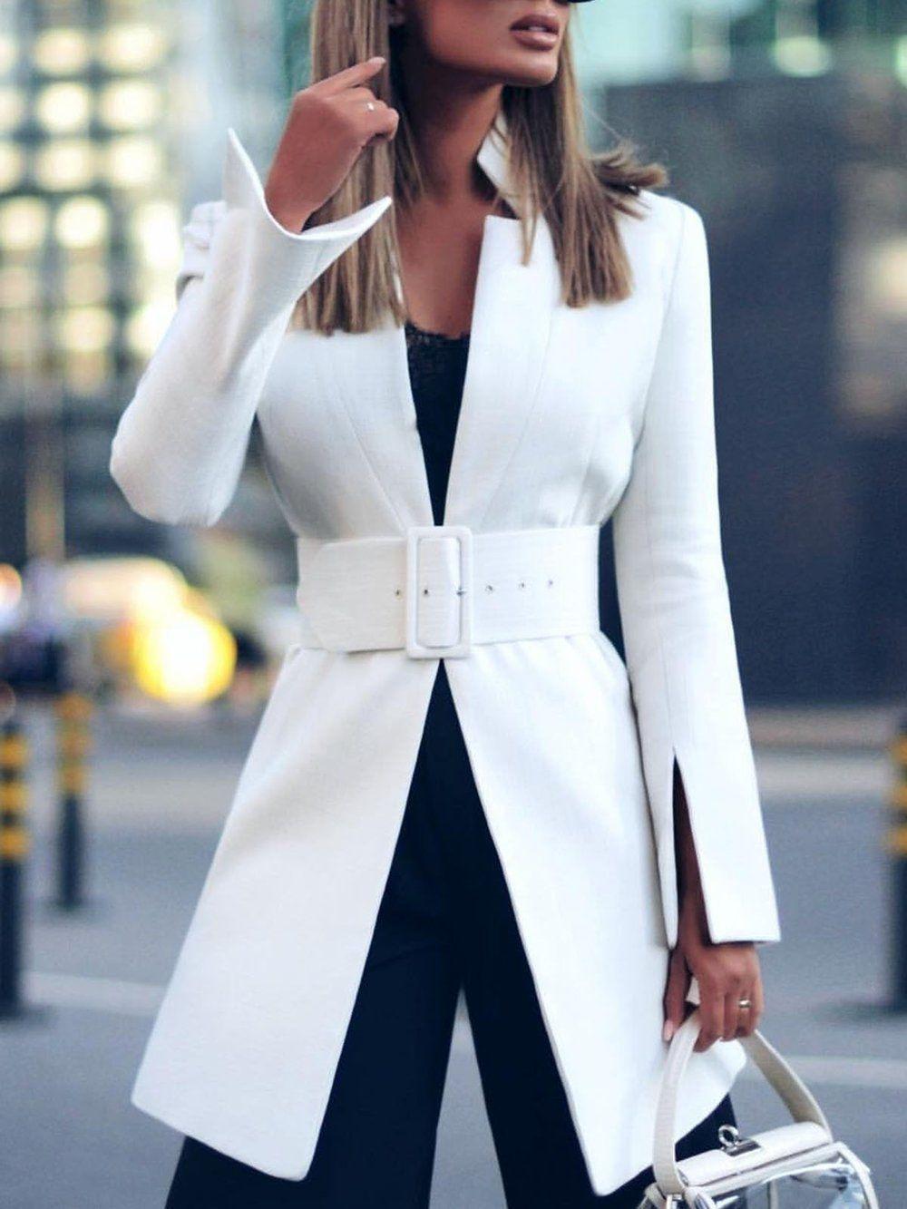 White Lapel Long Sleeve Paneled Sheath Blazers Styletoto White Jacket Outfit Fashion Ladies Long Blazer