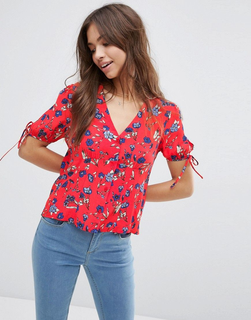 2aee8010cb94f Image 1 of ASOS Tea Blouse With Tie Sleeve In Red Floral