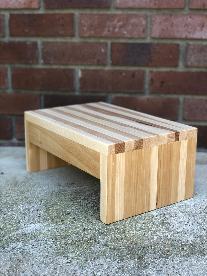 Bed Step Stool: Modern Wood Step Stool By CW Furniture Footstool Custom
