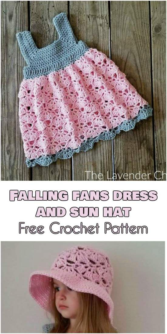 Falling Fans Dress and Sun Hat [Free Crochet Pattern] | Crochet baby ...