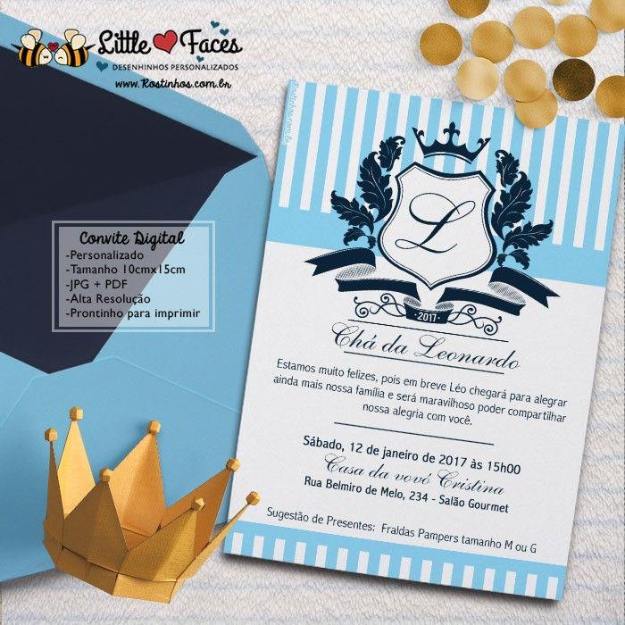 Convite Cha De Bebe Provencal Brasao Para Imprimir Convite Cha