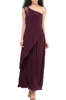 c031ef771234 Wine Side Shoulder Gown by Red Couture