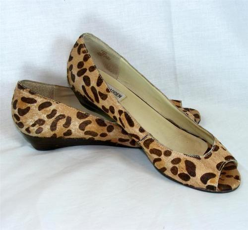 Leopard Pony Hair Peep Toe Ballet Flats