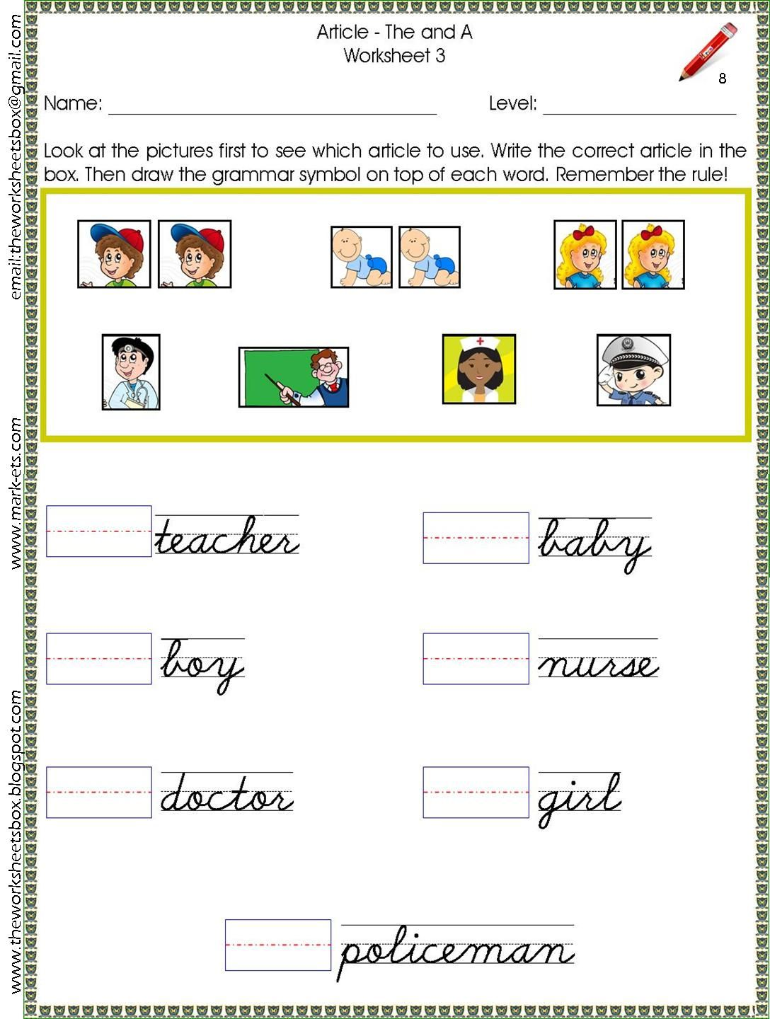 Sample Worksheet For Article And Noun Study