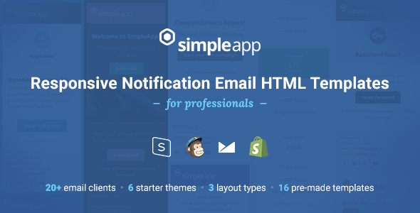 Cool SimpleApp Responsive Notification Email HTML Templates - Email notification template html