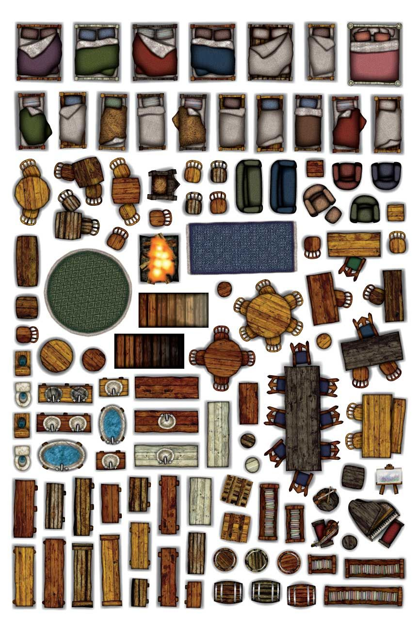 Object Sheets - Home Furniture in 2019 | d&d | Dungeon tiles