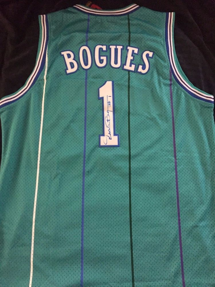 8d65b243c MUGGSY BOGUES Autograph Signed Charlotte Hornets Jersey XL Space Jam   CharlotteHornets