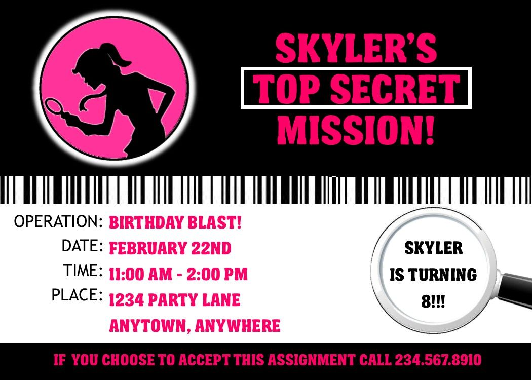 Spy Party Supplies Personalized Secret Agent Birthday Supplies – Spy Party Invitation