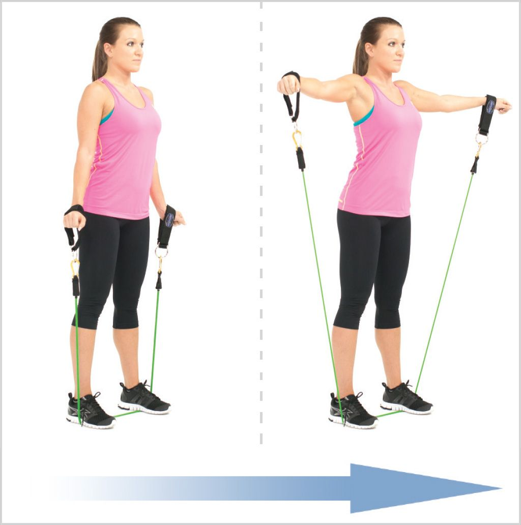 Standing Lateral Shoulder Raise With Resistance Bands