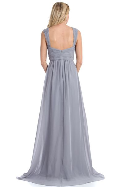 Long Chiffon Bridesmaids Dress with Straps