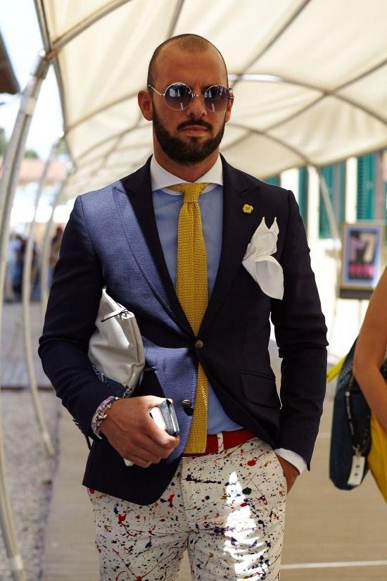 Men's Navy Blazer, Light Blue Long Sleeve Shirt, White Print Chinos, White  Leather Zip Pouch
